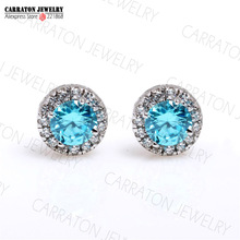 Carraton KLTE001 Genuino 925 Garnet Zirconia Azul 4.5mm CZ Crystal Mujeres Stud Earring