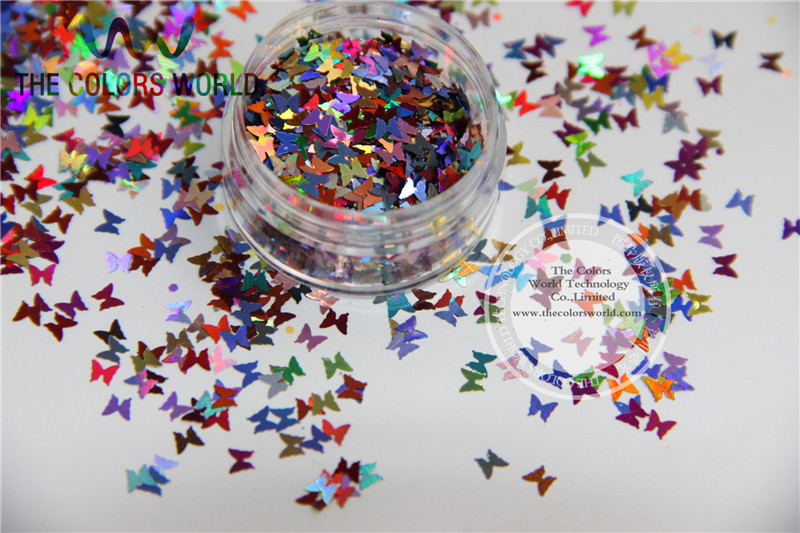FL3-45 Mix Laser Holographic Colors Glitter Butterfly Shapes paillette for nail and DIY decoration 50g/bag 3mm size white with blue light shinning colors glitter butterfly shapes amazing sparkles for nail art and diy supplies1pack 50g