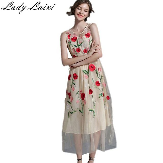 2018 Newest Fashion Runway Maxi Dress Women S Elegant Sleeveless Flower Fl Embroidery Vintage Long