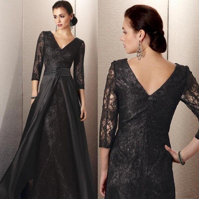 Black Wedding Dress With Detachable Train: MW011 Black Lace With Detachable Train A Line Mother Of
