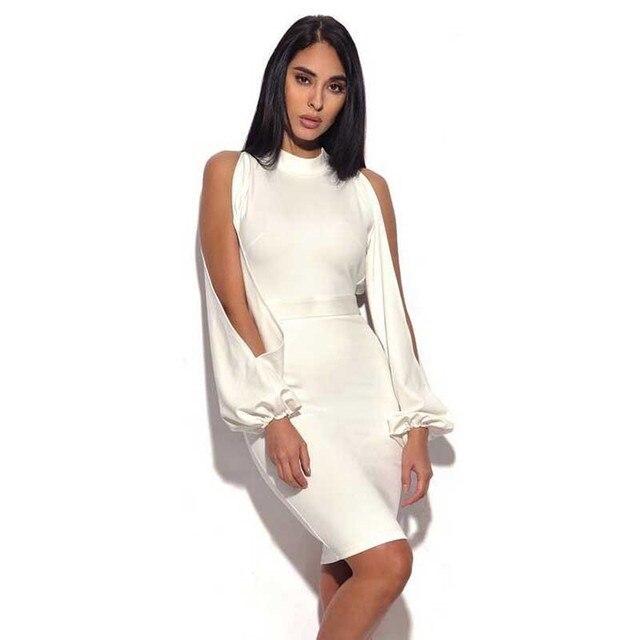 Bandage Brillant Nouveau Robe Beauté Blanc Longues Manches Halter wrPEwZBq