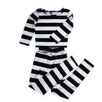New Kangoku Gakuen Cosplay Costume Prison School Midorikawa Hana Stripe Clothes Shiraki Meiko Women Pajamas Tops with Pants