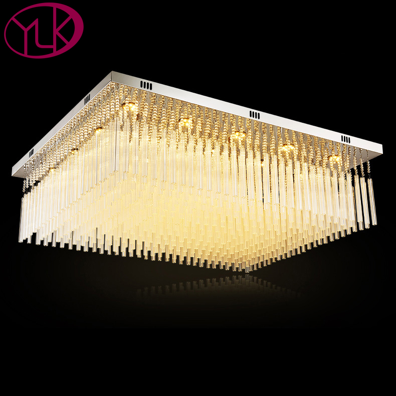 Rectangle Crystal Modern LED Ceiling Lights For Living Room Bedroom Lamparas De Techo Round LED Ceiling Lamp Fixture crystal modern led ceiling lights for living room bedroom ac85 265v lustre lamparas de techo avize crystal ceiling lamp fixtures