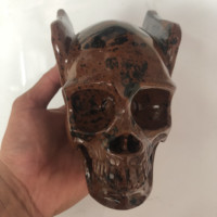 2019 100 percent natural crystal stone quartz hand carved horn wing skeleton stone carving natural stone