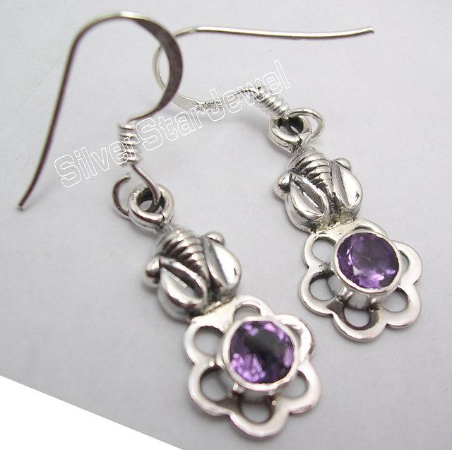 Chanti International Amazing PURPLE Amethysts ELEPHANT Earrings 3.5CM !   Silver Jewelry