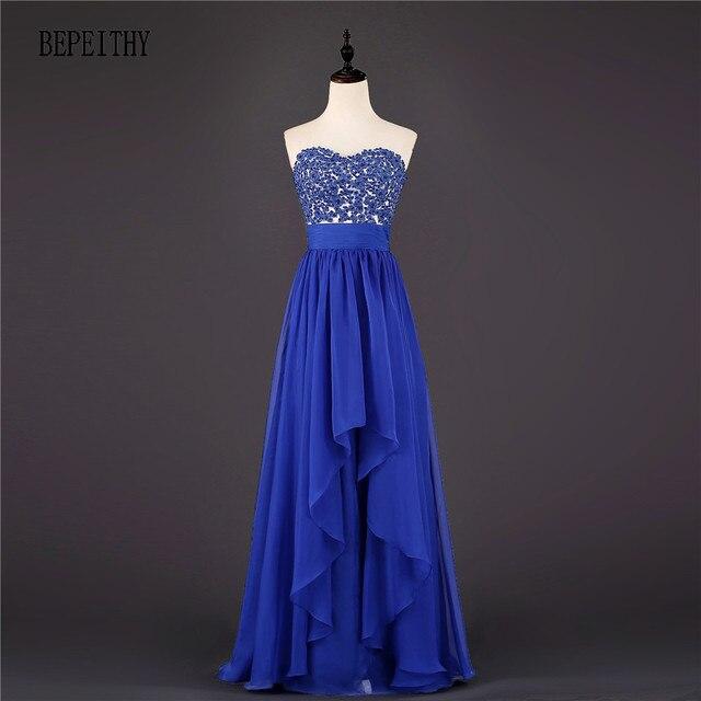 425aff88d BEPEITHY Elegante Vestido De Festa Longo Azul Royal Chiffon Longo vestido  de Noite Vestido de Festa