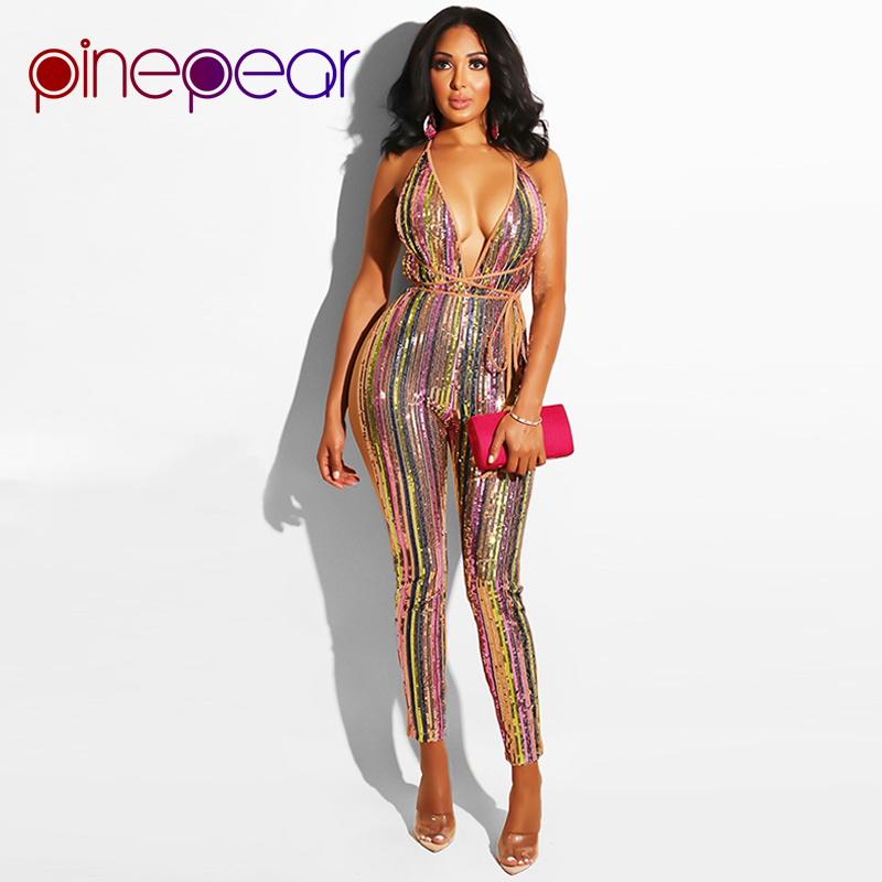 a4772bd59177 PinePear New 2019 Colorful Striped Glitter Sequin Jumpsuit Women Sexy Club Spaghetti  Strap Backless Bodycon Bandage Bodysuit