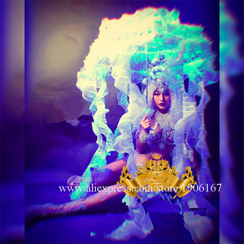 Nightclub GOGO female silver shell jellyfish sexy goddess costume dance team marine jellyfish party costumes03