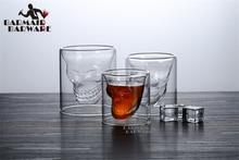 6pcs 25ml Shot Glass Cocktail Beer Skull Glass Whiskey Skull Head Vodka Shot Glass Drinking Ware for Home Office Bar Sets creative cool skull designed vodka whiskey shot glass transparent 70ml