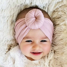 купить Hot fashion 100% cotton baby headband Toddler Girls Kids Baby Big Bow Hairband Headband Stretch Turban Head Wrap 0-6Y онлайн