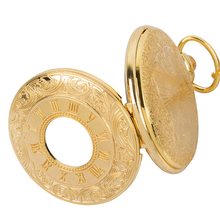 New golden Fashion quartz Hollow out Roman numerals Dual display mens FOB chain pocket watches
