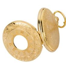 Купить с кэшбэком New golden Fashion quartz Hollow out Roman numerals Dual display mens FOB chain pocket watches
