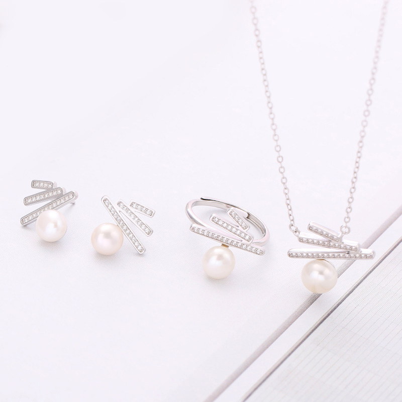 Simple Natural Pearl Jewelry Set Sterling Silver Inlaid Zircon Pearl Jewelry Wedding Jewelry Set Woman Oyster Pearl Jewelry DIY