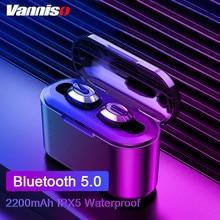 Vanniso T2 Tws mini wireless Bluetooth earphones 6D stereo In-Ear waterproof earpiece with 2200mAh Power Bank Charging box