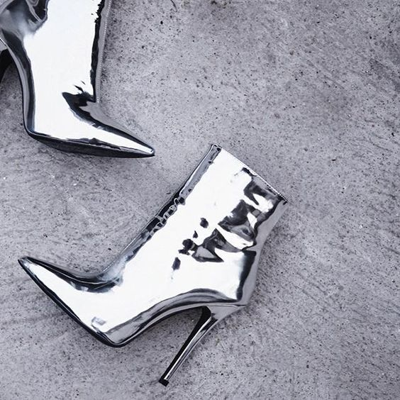 Women Sexy Pointed Toe Gold Silver Patent Leather Ankle Boots Metallic Glossy Stiletto Heels Dress Shoes Gladiator Banquet Pumps stiletto metallic ankle strap heels
