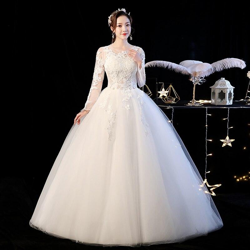 Wedding Dress 2020 Mrs Win Full Sleeve Ball Gown Princess Luxury Lace Embroidery Wedding Dresses Plus Size Vestido De Noiva F