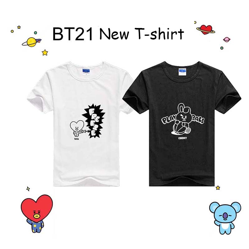 2018 New Kpop BTS Bangtan Boys BT21 TATA CHIIMMY COOKY Women Fashion Cotton Short Sleeve Top T-shirts Tshirts black and white