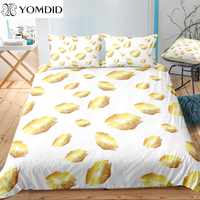 2/3PCs Printed Bedding Sets Gold Lips Duvet Cover Set For Home Decoration Polyester White Background Quilt Cover Pillowcase
