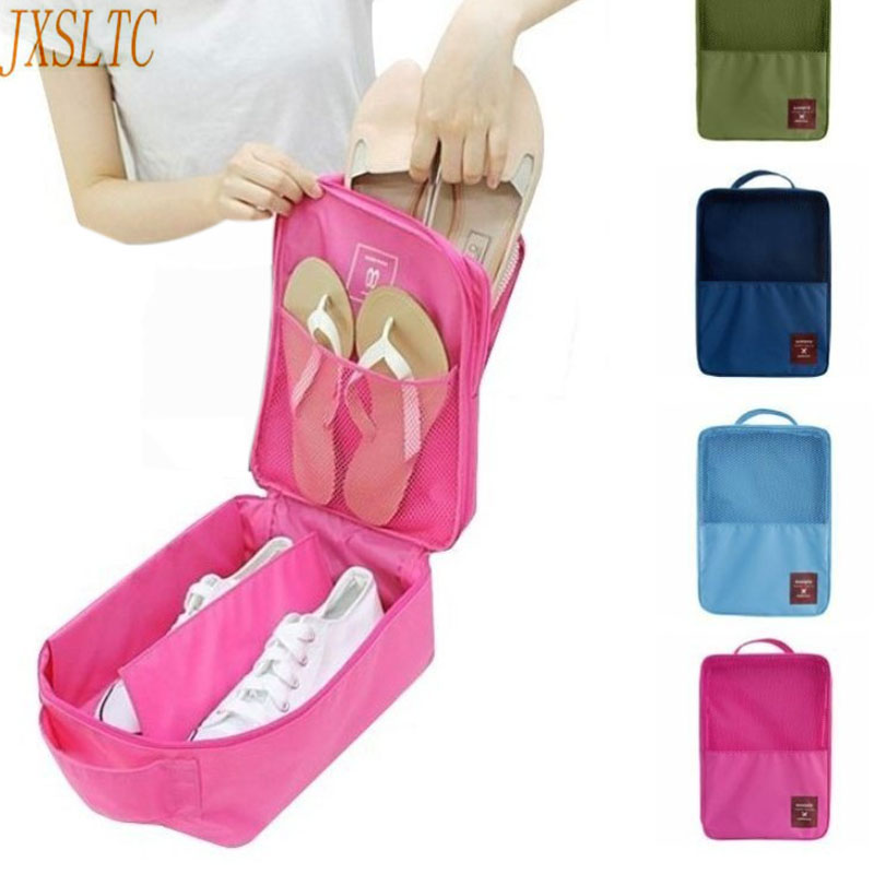 JXSLTC Portable Travel Shoe Bag Tote Shoes Underwear Bra Makeup Organize Mesh Bag  Luggage Travel Accessories Bag For Shoes