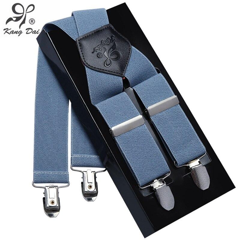 Kangdai Suspenders Men Leather Alloy 4clip Suspender Brand Belt Elastic Trouser Straps Fashion Commercia Pants Braces MCX401