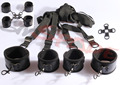 Smspade Erotic sex Bondage fetish restraints kit system,PVC Underbed Restraint&handcuff&anklecuff, bed restraint for couple game
