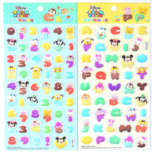 Disney Tsum Tsum 4PCS DIY Games Numbers Letters Kids Educational Toys Puffy Bubbles Stickers for Boys Girls Decorative цена