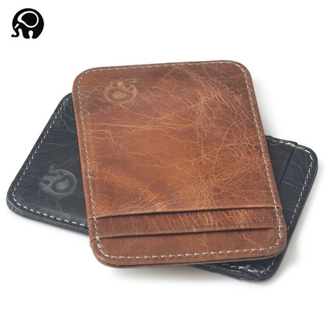Fashion 100% Genuine Leather Thin Bank Credit Card Case Mini Card Wallet Men Bus Card Holder Cash Change Pack Business ID Pocket