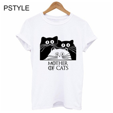 Mother of Cats Letter Print Funny t Shirts for Women Summer Short Sleeve Kawaii Cat Animal Design Female White Basic Mujer Tops