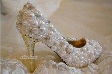 Handmade Elegant Imitation Pearl Rhinestone Wedding Bridal Pumps Shoes 10cm Heel Shoes New Style  women Shoes