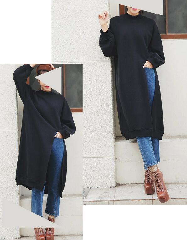 Edgension New 2017 Spring Fashion Funnel Neck Side Slit Loose Long Sweatshirts Korean Brand Split Turtleneck Oversize Sweat Suit