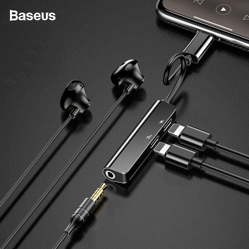 Baseus Audio Aux Adapter For IPhone Xs Max Xr X 8 7 Plus Dual Earphone Headphone Jack OTG Cable For Lightning Splitter Converter