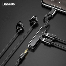 Baseus Audio Aux Adapter For iPhone Xs Max Xr X 8 7 Plus Dual Earphone Headphone Jack OTG Cable For Lightning Splitter Converter(China)