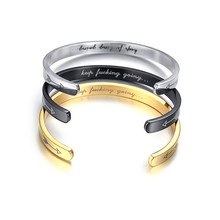 6MM Wide Laser English letter KEEP GOING bracelet For Women Men Jewelry Gold Silver Black Dropshipping