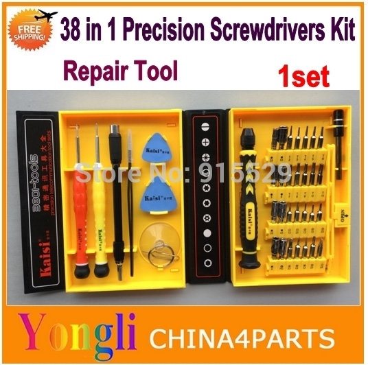 Free shipping ! KAISI 38 in 1 Opening tool kits Precision Screwdrivers Kit For iPhone 4 4s 5 5s 6 6 plus iPad Samsung repairing