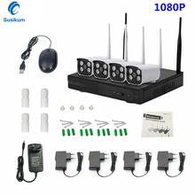 Bullet CCTV System 1080P 4CH HD Wireless NVR kit 4PCS 2.0MP Outdoor IR Night Vision IP Wifi Camera Security System Surveillance 960p hd outdoor ir night vision home video surveillance security ip camera wifi cctv kit 4ch wireless nvr system 1tb hdd