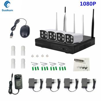 Bullet CCTV System 1080P 4CH HD Wireless NVR kit 4PCS 2.0MP Outdoor IR Night Vision IP Wifi Camera Security System Surveillance