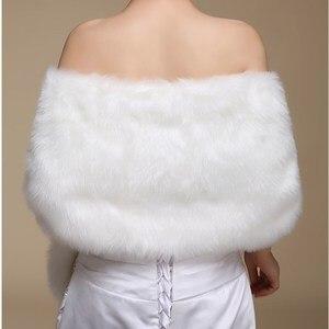 Image 4 - Ruthshen nowy Ivory Faux futro Bridal szal do opatulania się peleryna Stole Bolero rzut płaszczyk na ramiona DS0817