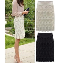 S-5XL 2016 Summer New Casual Fashion Elegant Sexy Slim Bodycon Lace Knee Length Women OL Pencil Skirt  Plus Szie Beige Black