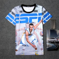 Summer 3D Print Short T-shirt Cotton Unisex Tee  player Shirts Teen Loose Homme Fans Tops Warriors Star Stephen Curry ESPN