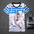 Summer 3D Print Short T-shirt Cotton Unisex Tee  player Shirts Teen Loose Homme Fans Tops Warriors Star Stephen Curry ESPN