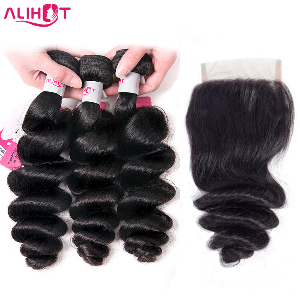 ALI HOT Brazilian Loose Wave 3 Bundles Human Hair With Closure Natural Color Remy Hair Bundles With 4*4 Free Part Lace Closure
