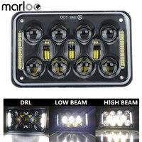 Marloo 1 stks 4x6 ''LED DOT Zwart Koplamp DRL Lamp Voor Honda XR250 XR400 XR650 Suzuki DRZ Truck 6X4 Inch Koplampen op