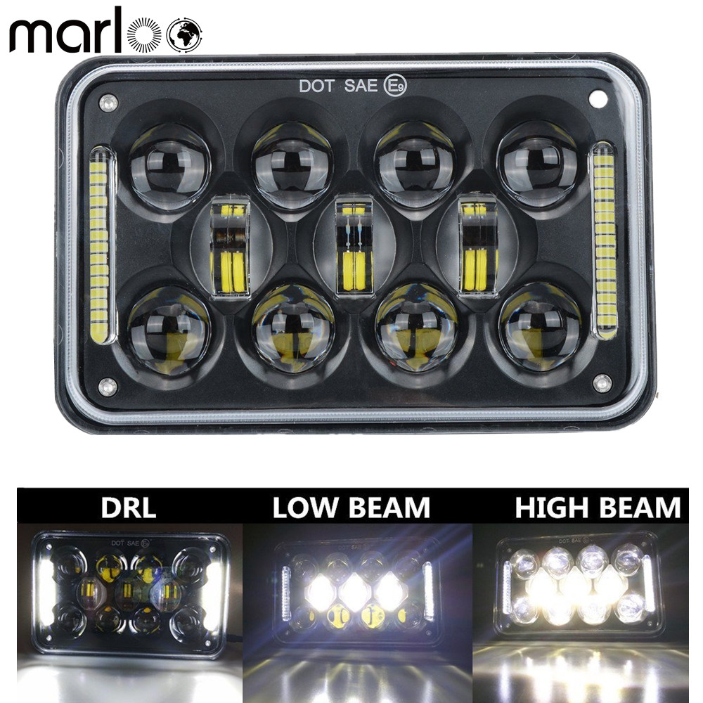 Marloo 1pcs 4x6'' LED DOT Black Headlight DRL Lamp For Honda XR250 XR400 XR650 Suzuki DRZ Truck 6X4 Inch Headlights