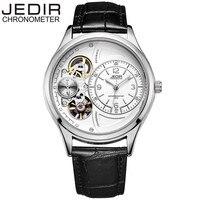 JEDIR New Fashion Men's Relogio Masculino Tourbillion Auto Mechanical Genuine Leather Wristwatch Gift Box Free Ship