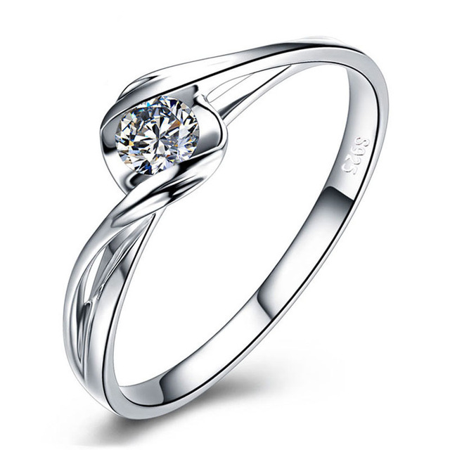 1257b995c4f2d US $18.7 47% OFF Engagement Ring Women Cubic Zirconia Brilliant Round Cut  Anniversary Infinity Ring Genuine 925 Sterling Silver Solitaire Ring-in ...
