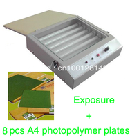 速い送料無料フード品質uv露光ユニット用ホット箔パッド印刷pcb + 8ピースa4フォトポリマー版