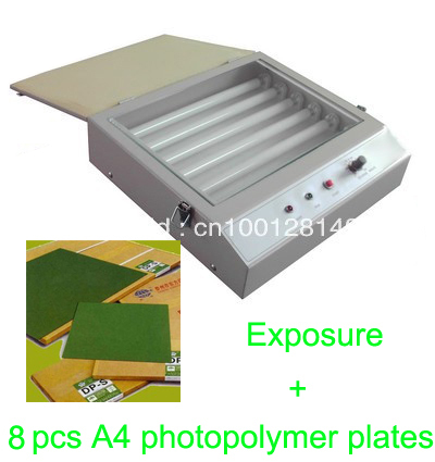 FAST FREE shipping hood quality UV Exposure Unit for Hot Foil Pad Printing PCB + 8 pcs A4 photopolymer plates fast free shipping hot 5pcs 40cmx60cm photopolymer plate stamp making diy letterpress polymer stamp maker systerm