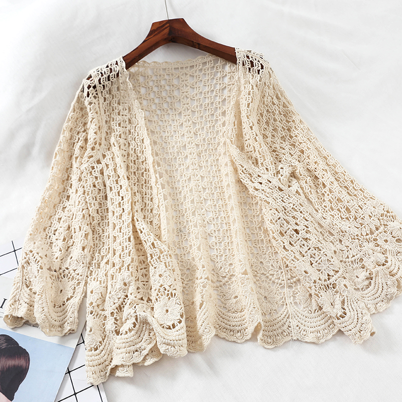 Women Sweater Cardigan Shrug Flower Crocheted Open-Lace Knitted Floral Female White Hollow-Out title=