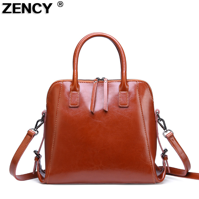 ZENCY Vintage Genuine Oil Wax Cow Leather Women s Handbag Shoulder Messenger Cowhide Shopping Handle Bags