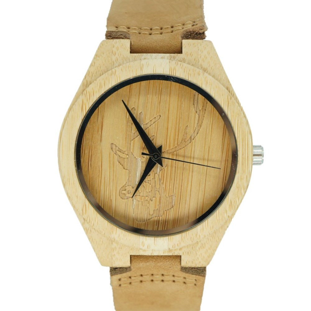 PENGNATATE Famous Brand Watches Men Genuine Leather Watchband Wood Watch Deer Head Wooden Wristwatch Natural Bamboo Quartz Clock hand made mens wooden bamboo quartz watch black genuine leather watchband simple unique modern wristwatch gift for male female